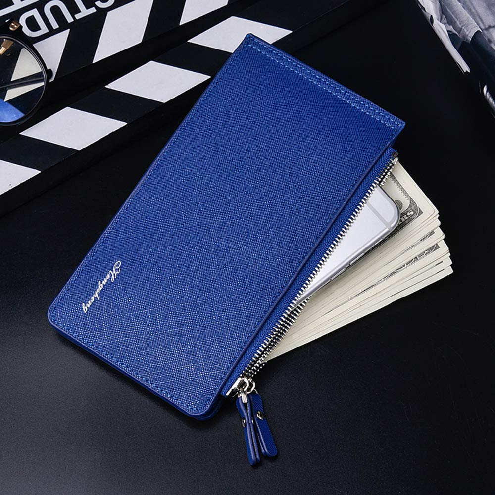 Large Capacity PU Leather Man Teenager Double Zipper Credit Card Cash Coin Pocket Wallet Walmeck Wallet