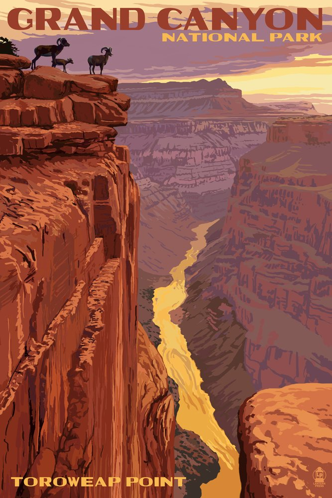 Grand Canyon National Park – Toroweapポイント 16 x 24 Signed Art Print LANT-43873-709 B07B24NVJ6 16 x 24 Signed Art Print16 x 24 Signed Art Print