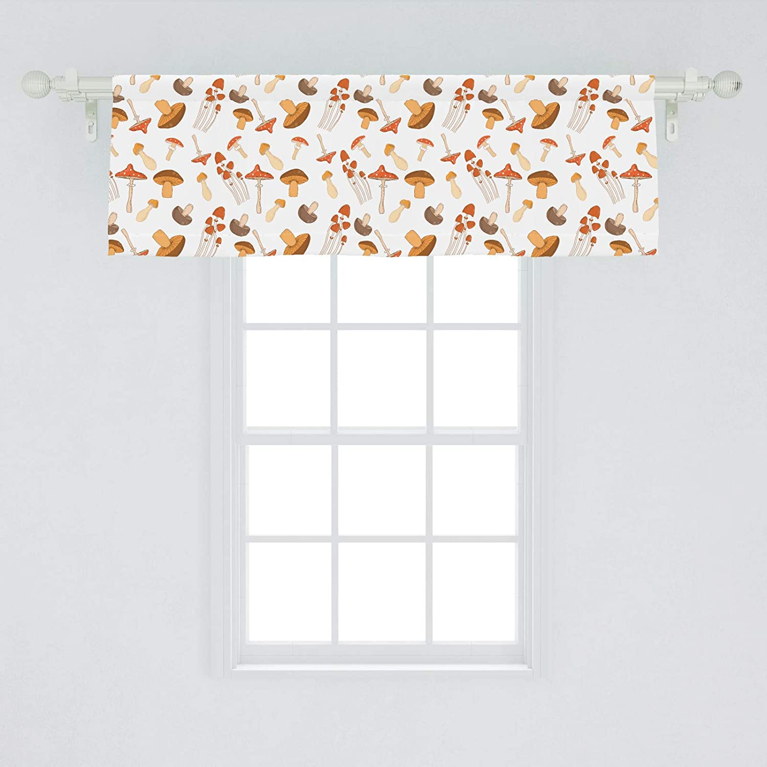 Ambesonne Autumn Window Valance, Colorful Mushroom Pattern Woodland Illustration with Various Fungi Types, Curtain Valance for Kitchen Bedroom Decor with Rod Pocket, 54