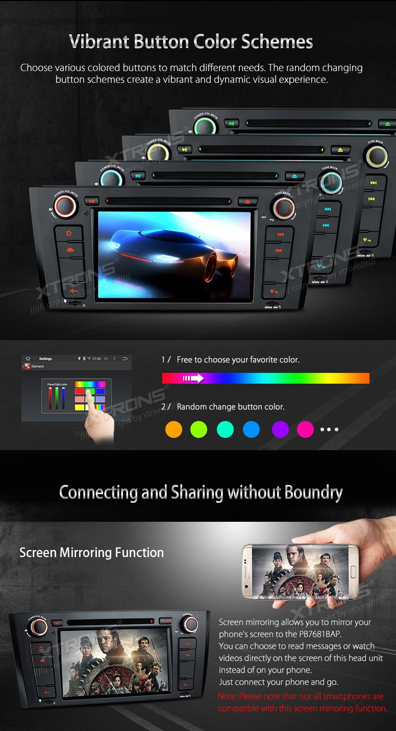XTRONS Android 6.0 Octa-Core 64Bit 7 Inch Capacitive Touch Screen Car Stereo Radio DVD Player GPS CANbus Screen Mirroring Function OBD2 Tire Pressure Monitoring for BMW 1 Series E81 E82 E88 by XTRONS (Image #7)