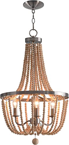 Kenroy Home Regas 3 Lt Wood Bead Chandelier