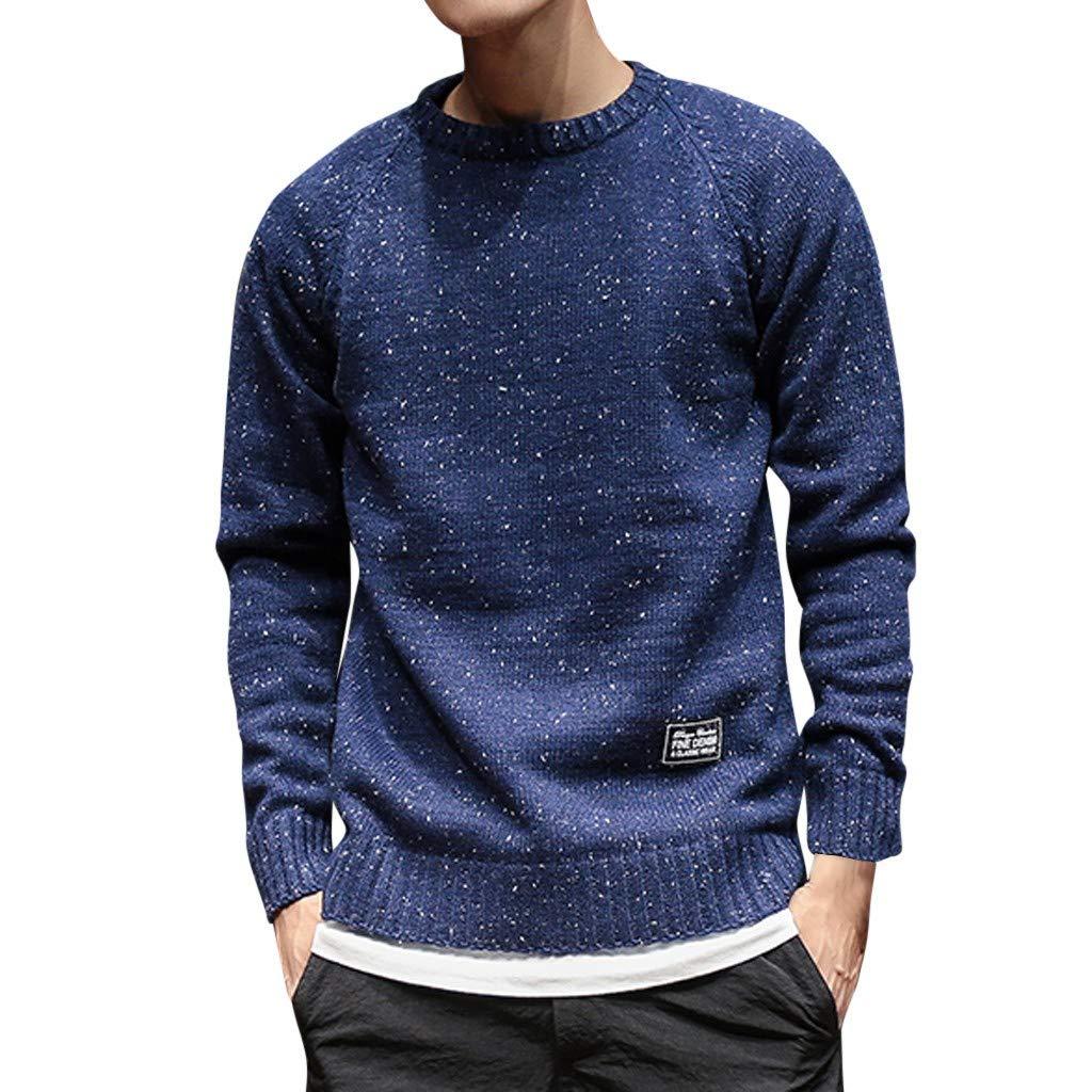 WUAI-Men Knit Sweaters Casual Slim Fit Basic Autumn Winter Pullover Sweatshirt Tops(Navy,X-Large) by WUAI-Men