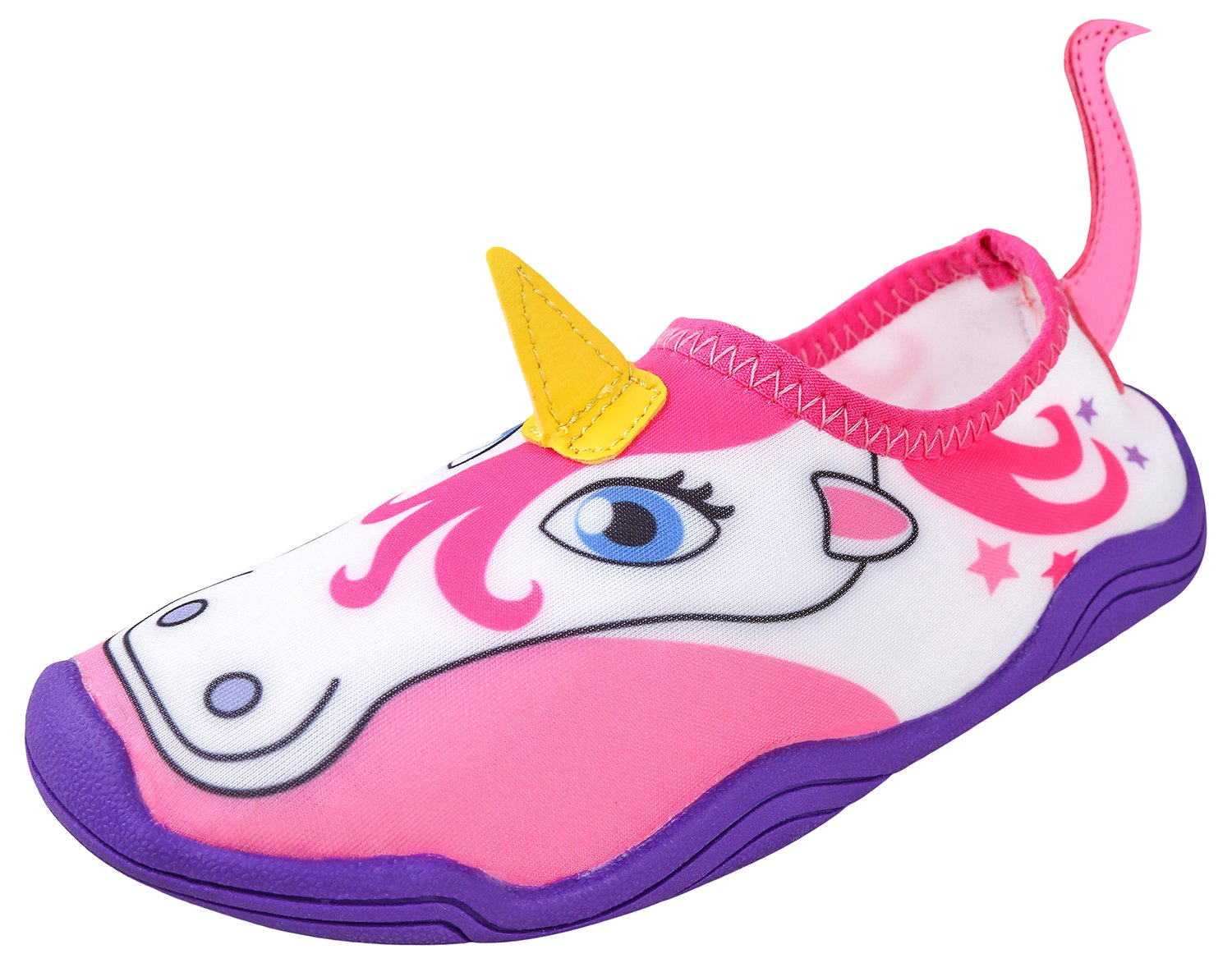 Lil' Fins Water Pals Kid Shoes | Beach | Summer Fun | Water Shoes | Quick Dry | Swim Shoes | Unicorn 2D/3D Horn 10/11