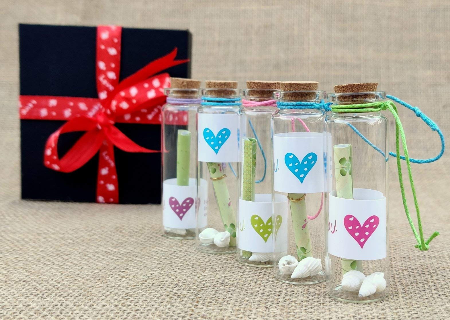 McClub Valentines Special Personalized Gift Love Message Bottles Set of 5 Piece with Beautiful Wooden Box (B07MJZ1MT2) Amazon Price History, Amazon Price Tracker