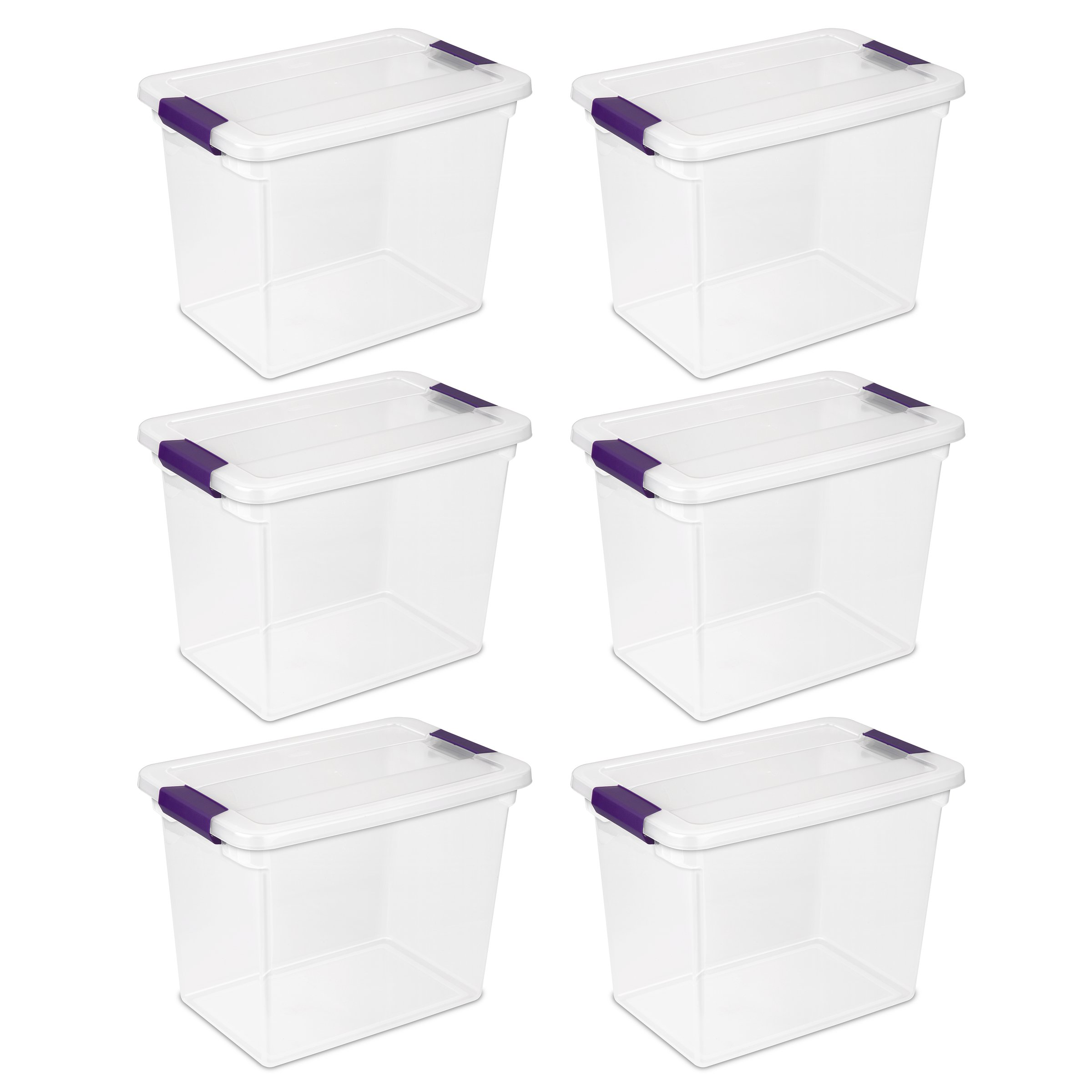 Sterilite 17631706 27 Quart/26 Liter ClearView Latch Box, Clear with Sweet Plum Latches, 6-Pack by STERILITE