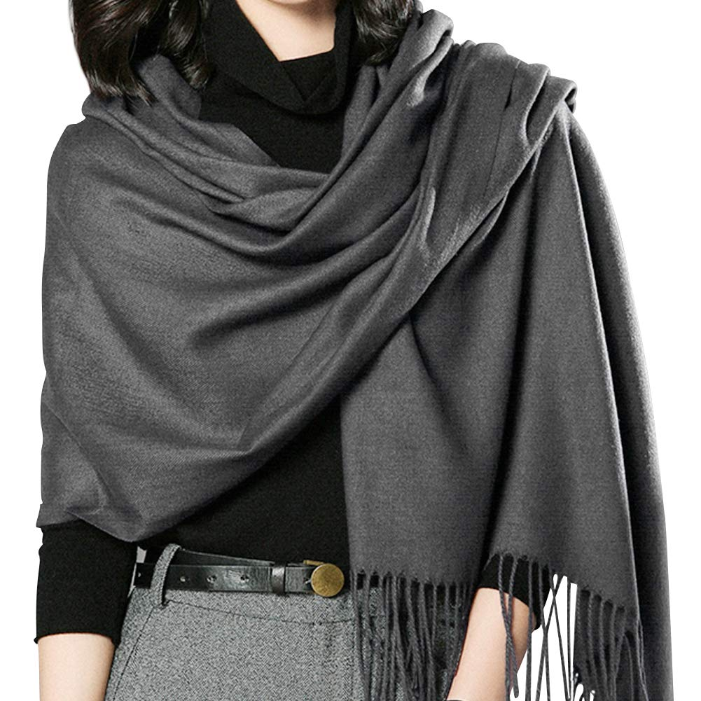 Women's Large Scarf Shawl Wrap- FURTALK Wedding Evening Dress Blanket Scarves In Solid Color Cashmere Feel Bridal Gift (Deep Grey)