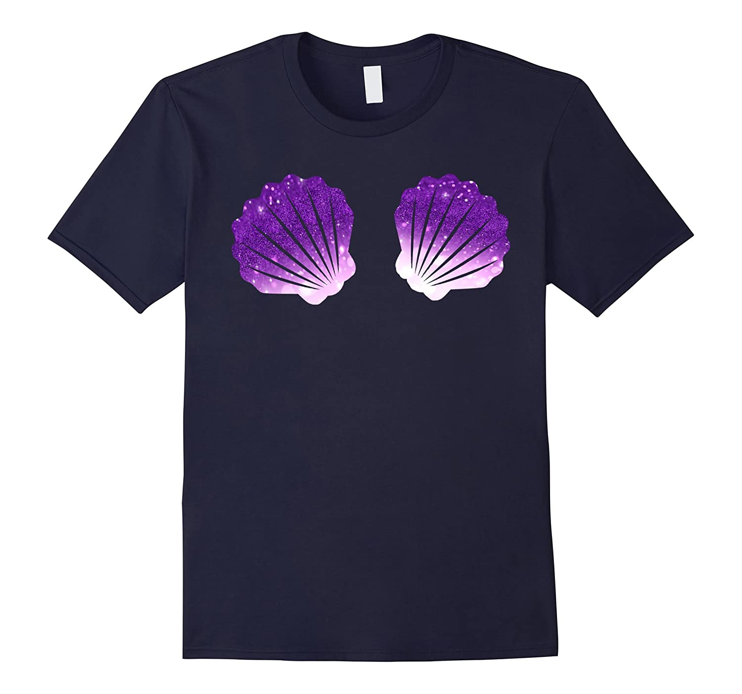 Mermaid Sea Shell Bra T Shirt Galaxy Purple Seashell Shirts-FL