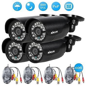 4 piezas 800TVL KKmoon CCTV para exteriores/interiores cámara de vigilancia de vídeo de seguridad redonda juego de 24 LEDS de vigilancia 3,6 mm lente: ...