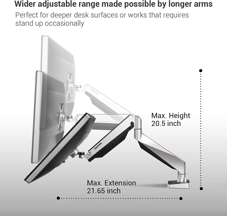Loctek Dual Arms Desk Monitor Mounts Fits Most 10-27 Monitor D7D