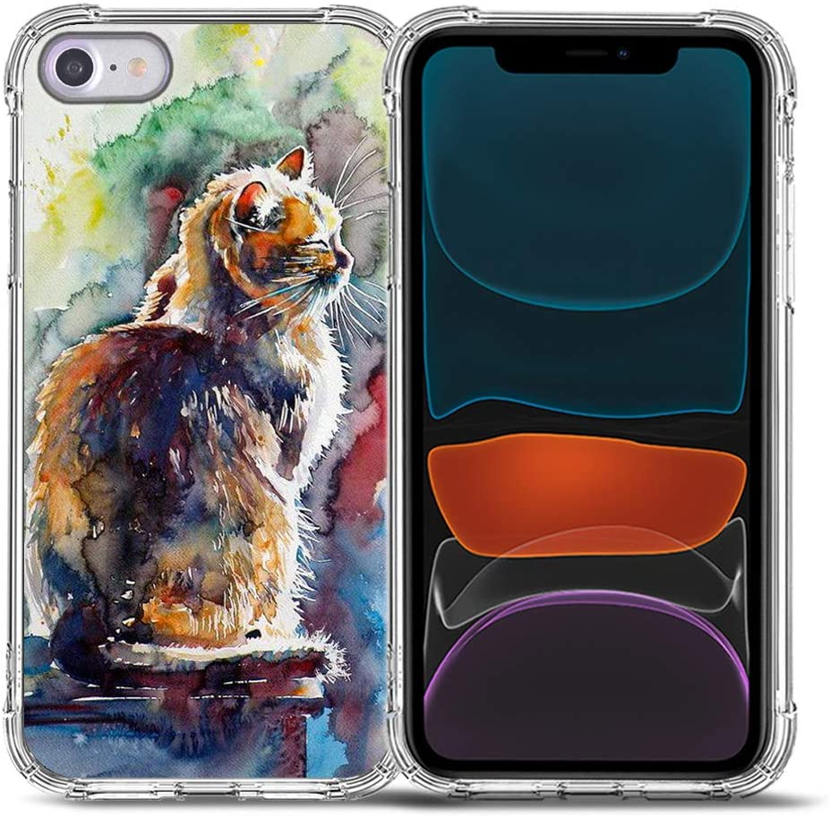 2020 New iPhone SE Case,iPhone 8 Case,iPhone 7 Case,Bcov Cute Cat Painting Drop Protection Shockproof Case TPU Full Body Protective Scratch-Resistant Cover for iPhone 8/7