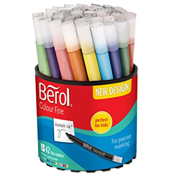 berol felt tip colouring markers fine point 0 6 mm assorted