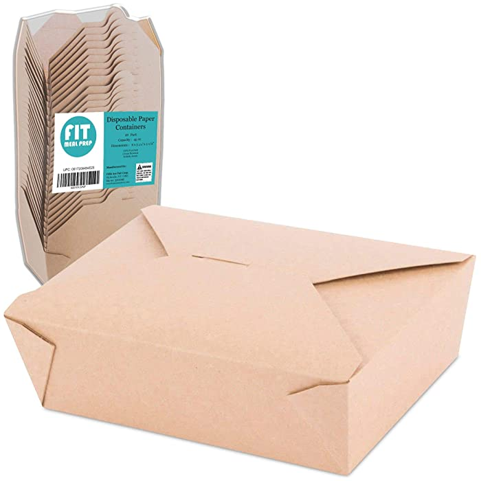 "[40 Pack] 45 oz 6 x 5.75 x 2.5"" Disposable Paper Take Out Food Containers, Microwaveble Folding Natural Kraft to Go Boxes #8"