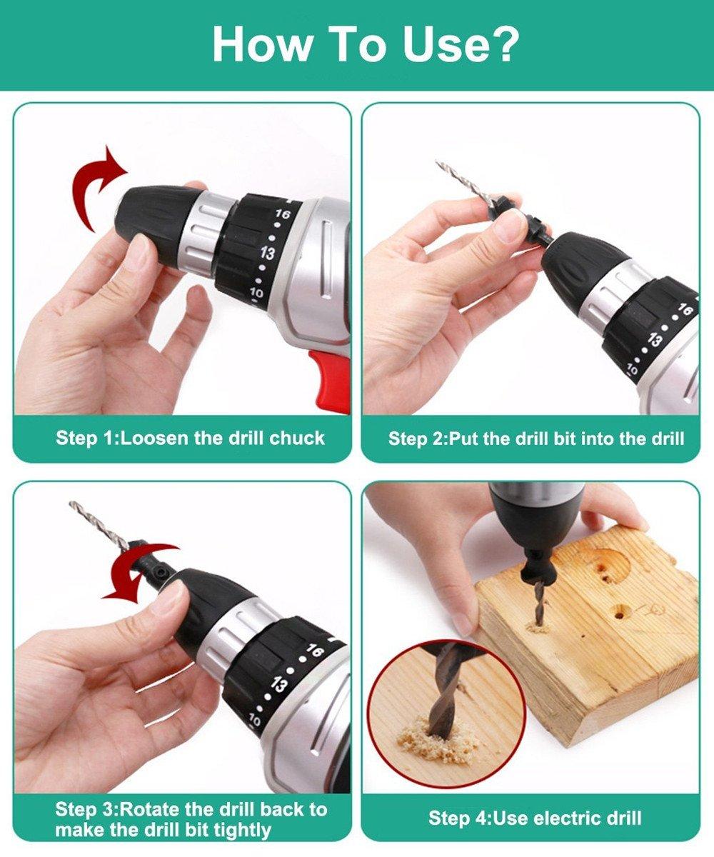 Eyech 4Pcs HSS Quick Change Hex Shank #6#8#10#12 Countersunk Counter Drill Bit Set