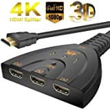 Hdmi Switch 4k Switch 3 In 1 Out Hdmi switch full HD Splitter with Pigtail Cable Work for HDTV, Xbox One, DVD, Bluray Player, Projector etc
