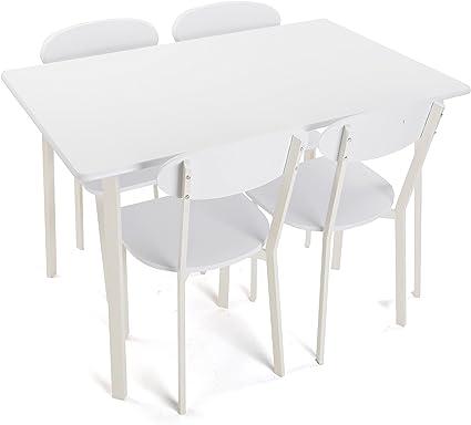 Versa 20880050 Set mesa y 4 sillas de madera blanca, 75x80x120cm, Juego comedor: Amazon.es: Hogar