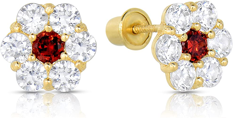 New 14K Solid Yellow Gold 3mm Pearls On Flower Stud Earrings Large Screw Back