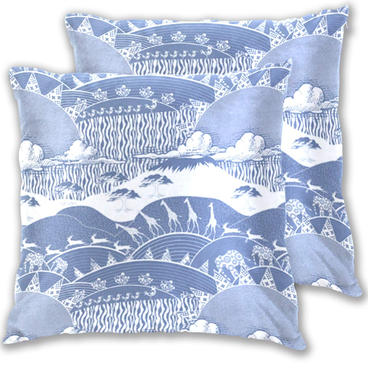 BeliveFinds Africa Monaco Blue Culture Throw Pillow Covers Bed Sofa Cotton Square Pillowcase,Set of 2