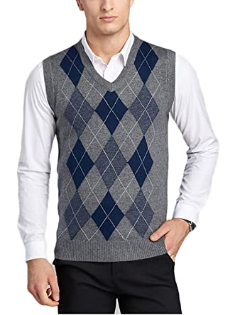34e41307697 Men's V-Neck Argyle Pattern Sweater Vest Cardigan Knitted Waistcoat ...