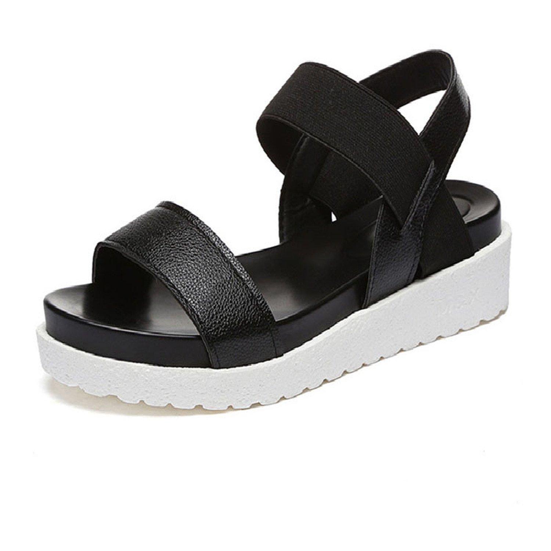 Aworth Spring Summer Women Sandals Female Robe Thick Platform Buckle with Roman Light Black Sandals Shoes .HYKL-810 B07CG4NGRZ 5 B(M) US|Black