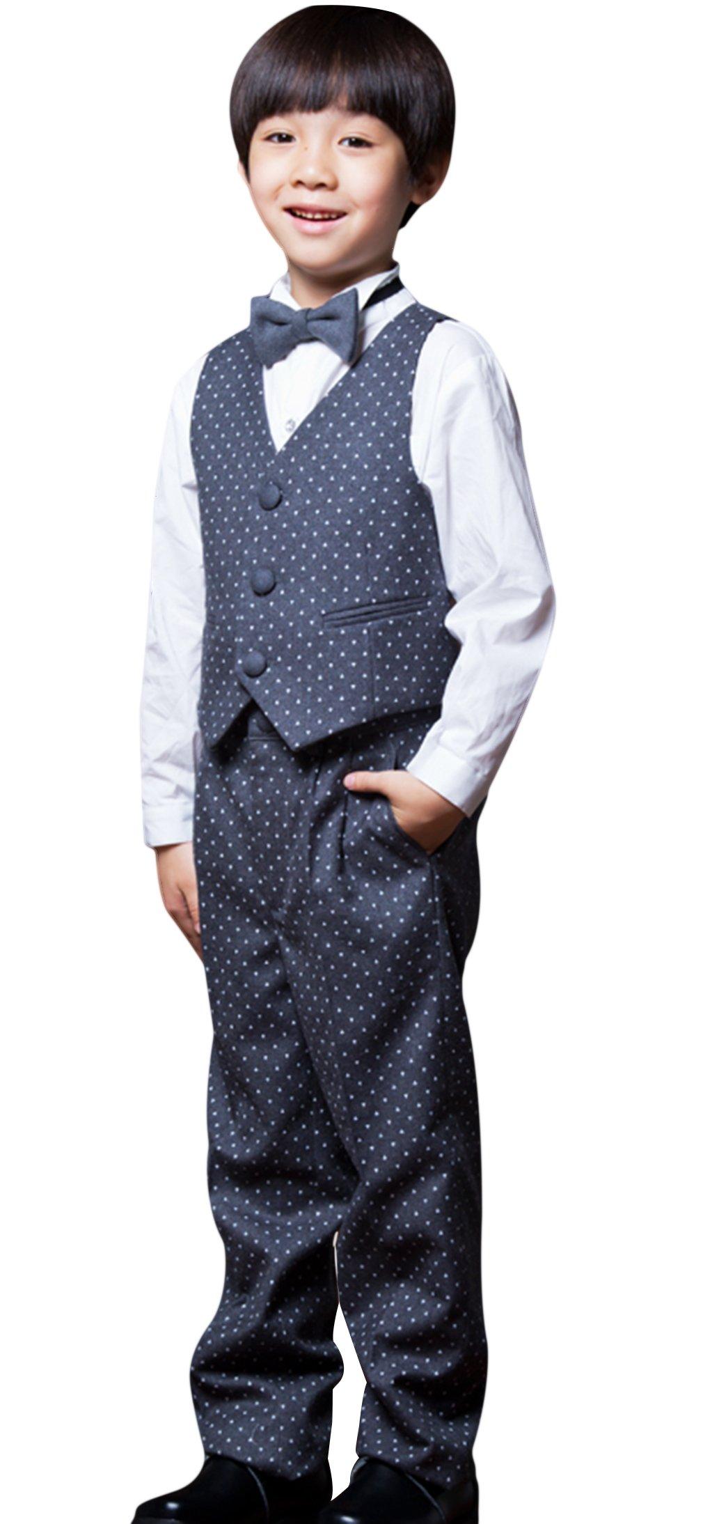 La Vogue Boys Formal 5 Piece Dress Suit Jacket Vest Shirt Pant and Bow S7 by La Vogue (Image #2)
