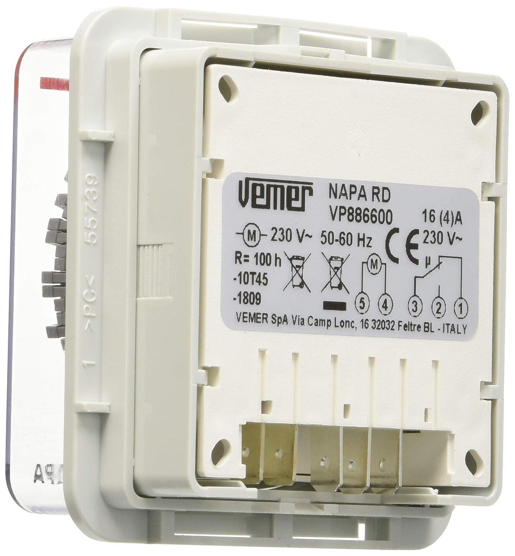 Vemer VP886600/Interrupteur horaire /électrom/écanique Napa-RD de Panneau Gris Clair