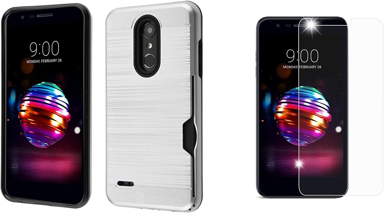 Silver Phoenix Plus Bemz Slim Shockproof Card Slot Case for LG K30 Premier Pro 4G LTE Harmony 2 with Tempered Glass Screen Protector