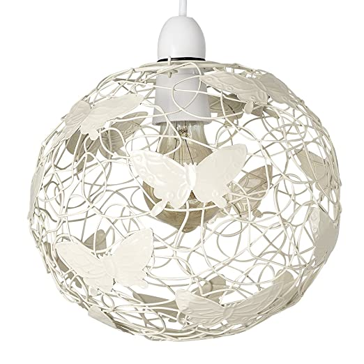 Modern cream wire frame globe ceiling pendant light shade with modern cream wire frame globe ceiling pendant light shade with decorative butterflies greentooth Choice Image