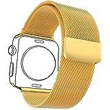 Bandmax Milanaise Uhrenarmband Ersatzarmband mit Magnetverschluss 18K Vergoldet Edelstahl Wrist Armband für 42MM Apple Watch (Gold)