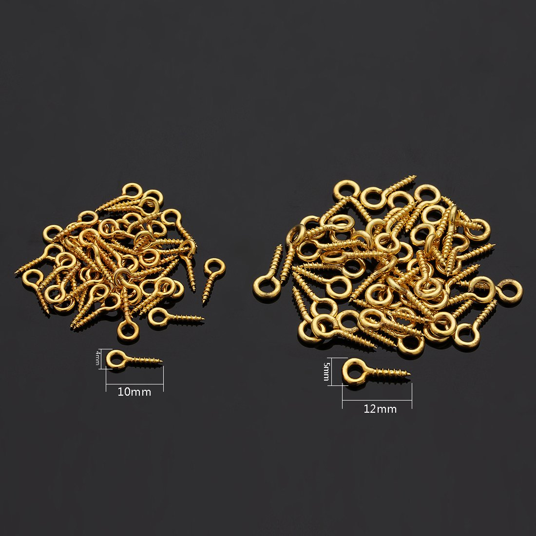 Linsoir Beads 200pcs Sturdy Metal Tiny Screw Eyes Pin Bail Peg 4X10mm Mixed Color 5X12mm