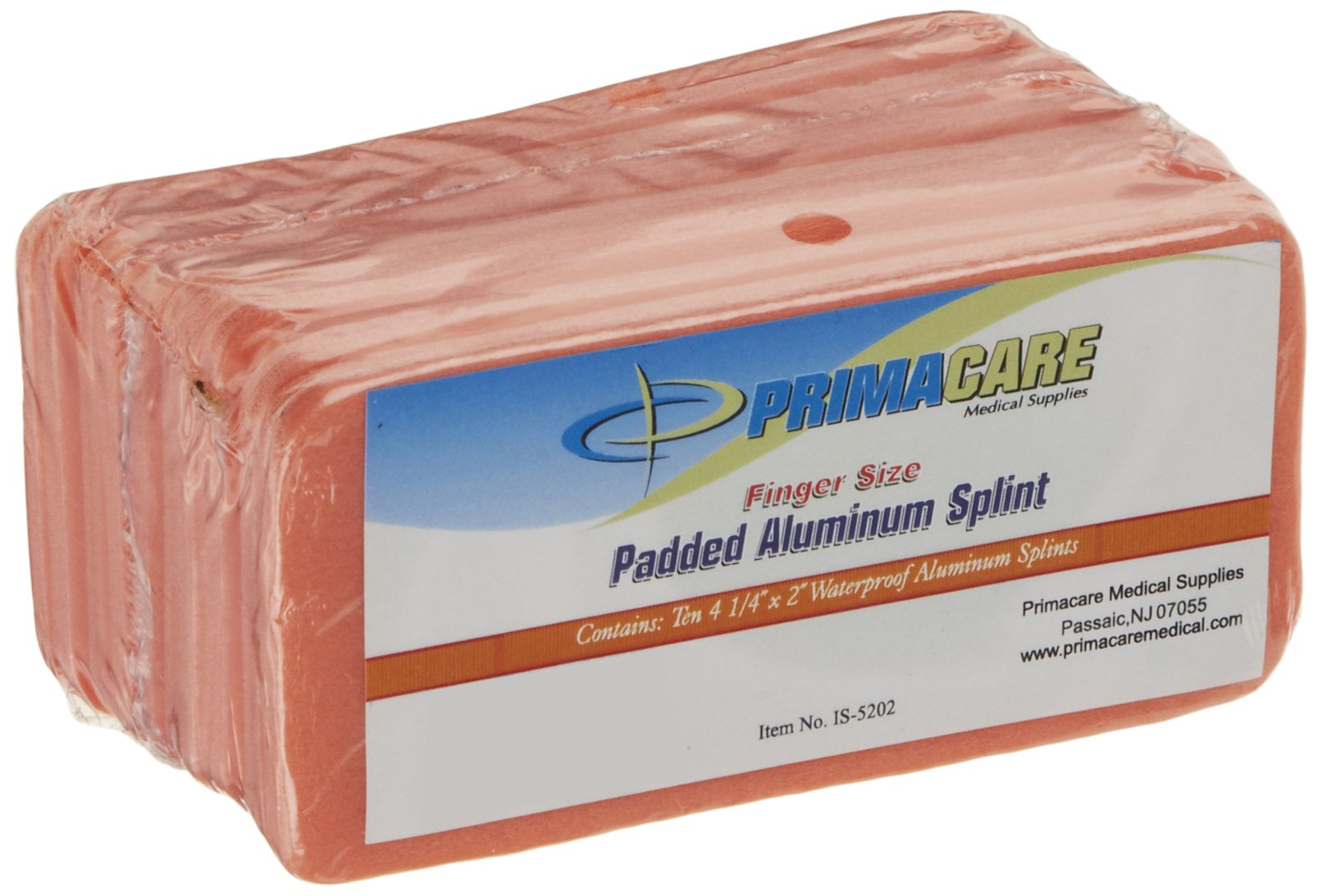 Primacare IS-5202 Padded Aluminum Finger Splint (Pack of 10)