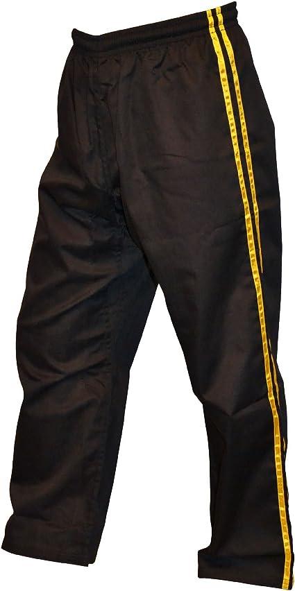 TurnerMAX Artes Marciales Karate Pantalones Negro con Raya Amarilla