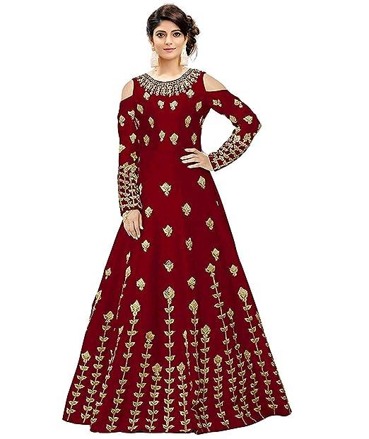 c22f3e4e49f Kumbh Nath Women's Heavy Taffeta Silk Anarkali Gown(Maroon_Free Size_Semi  Stitched): Amazon.in: Clothing & Accessories