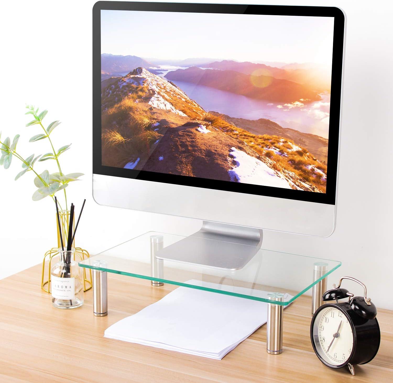 Clear Glass Laptop Monitor Stand TV Screen Riser Height Adjustable Desktop Shelf