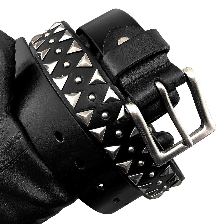 Metal Studded Real Leather Belt Biker Rocker Gothic Waistband
