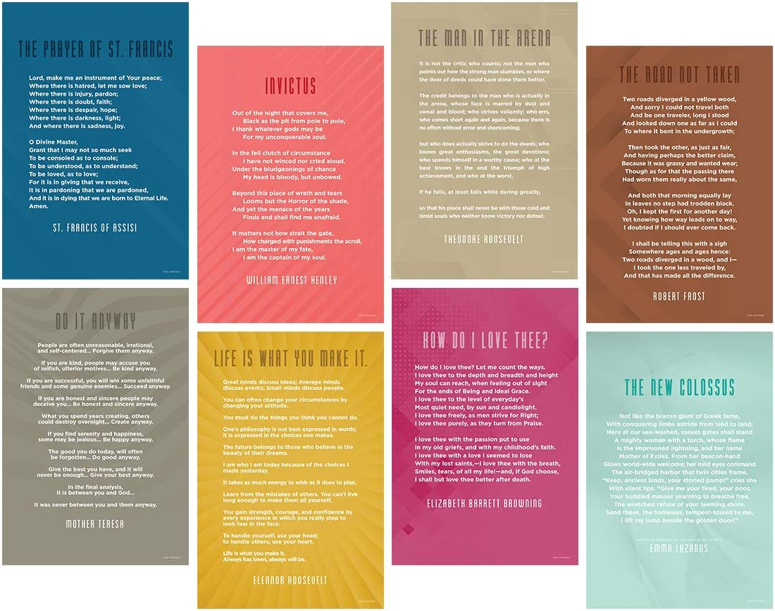 Focus and Zeal Classic English Literature Quote Poster Writing Wall Art Poster for Classroom, Library and School - Size 12x18 in, Set of 8