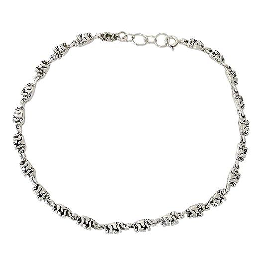 Novica Sterling silver anklet, Elephant Romance
