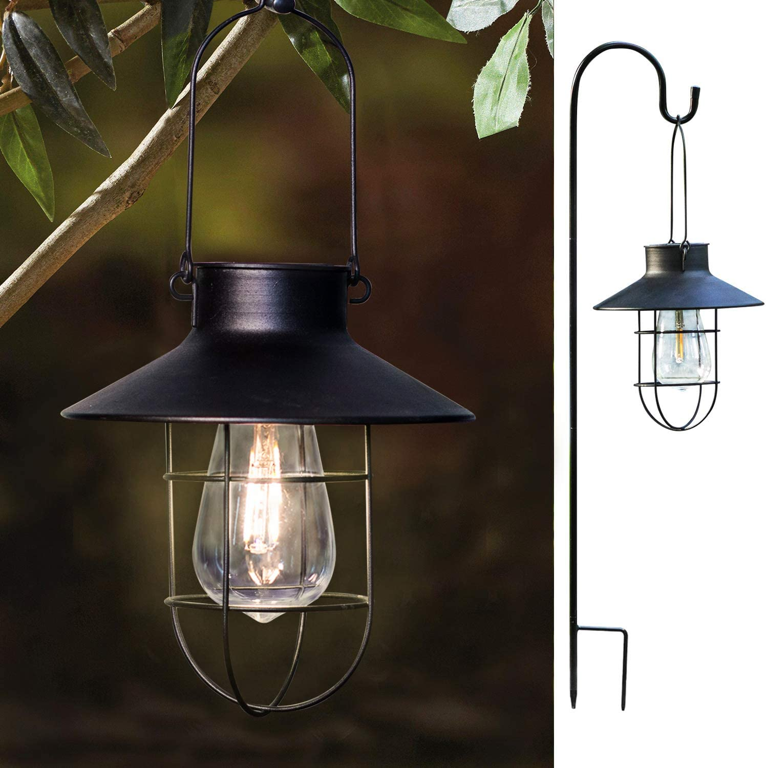2 Pack EKQ ROJOY Hanging Solar Lights Lantern Lamp with Shepherd Hook, Metal Waterproof Edison Bulb Lights for Garden Outdoor Pathway (Black)