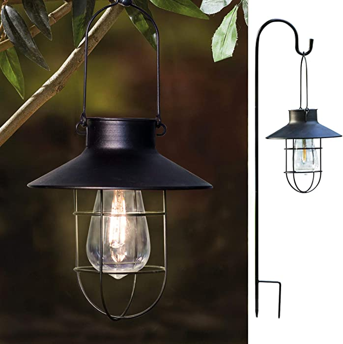 1 Pack EKQ ROJOY Hanging Solar Lights Lantern Lamp with Shepherd Hook, Metal Waterproof Edison Bulb Lights for Garden Outdoor Pathway (Black)