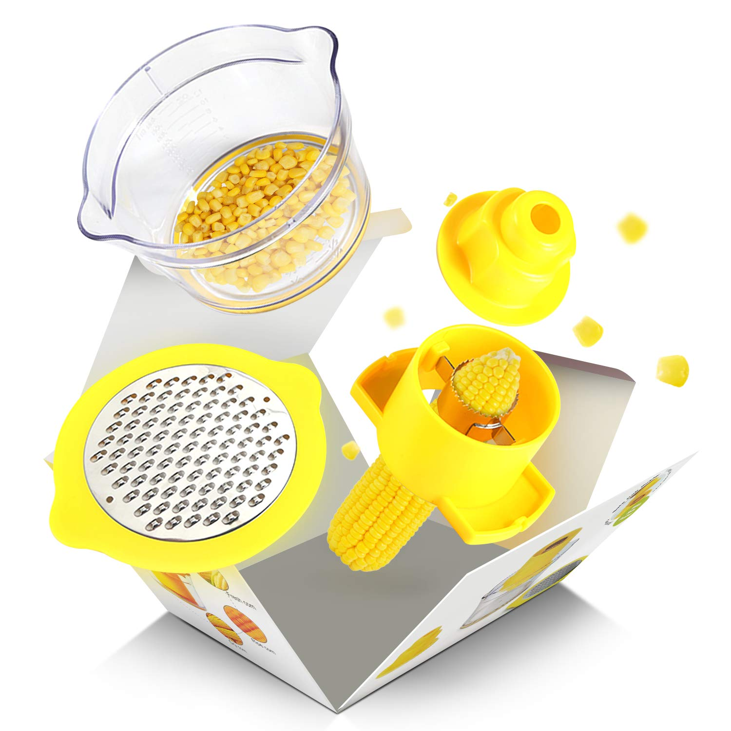 Houselog Corn Stripper,Corn Peeler Household Corn Thresher Stainless Steel Peeling Machine 4 in 1 Corn Shucker Tool + Kitchen Multifunctional Peeler (Gift)