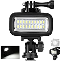 Neewer 700LM Flash LED Regulable Impermeable 40m Bajo el Agua con 20 LED y 3 Filtos Color(Blanco,Naranja,Morado para Cámara Acción GoPro Hero 3 4 +) y Cámaras Réflex Digitales