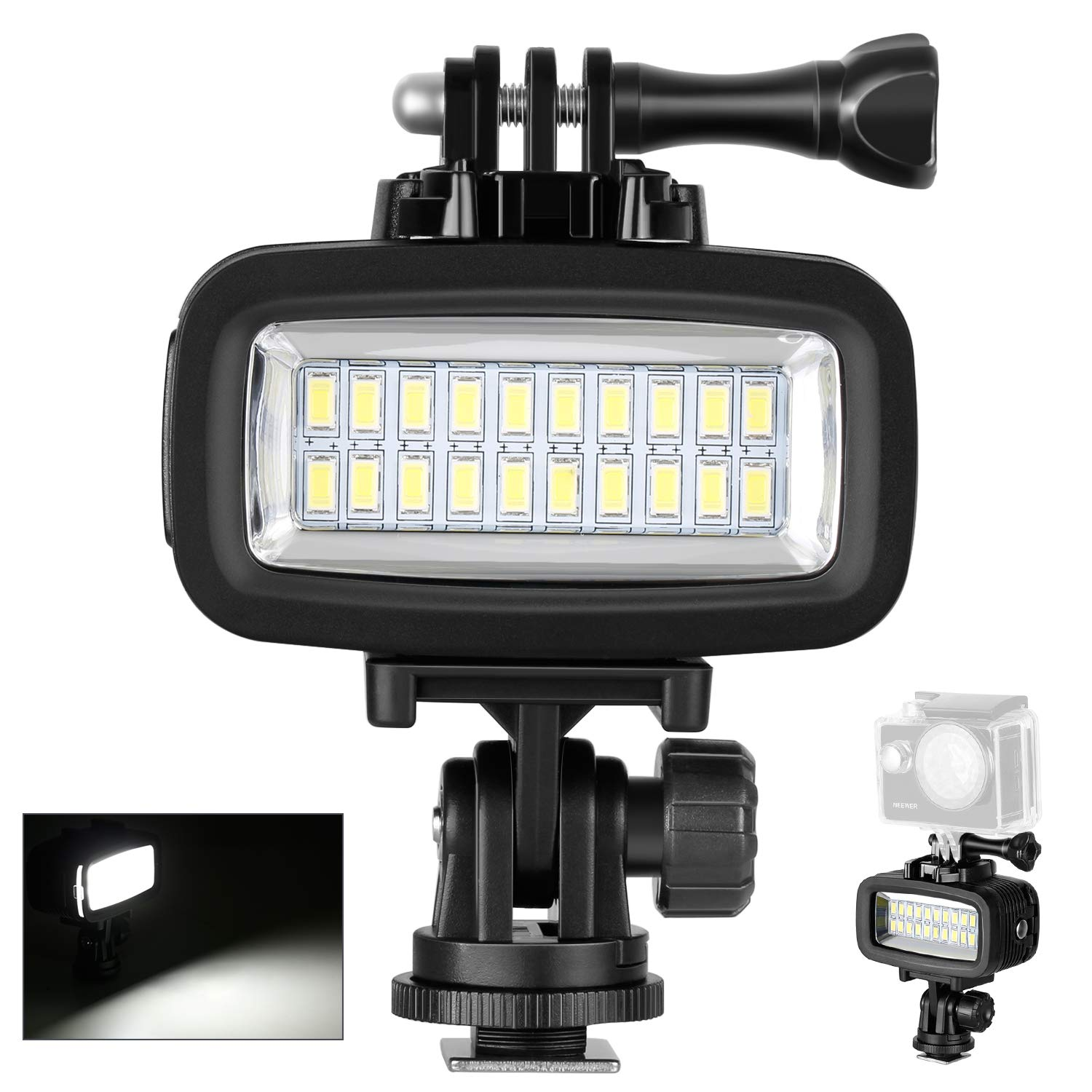 Neewer® Waterproof Up to 131ft/40m Underwater 20 LED 700LM Flash Dimmable Fill Night Light with 3 Color Filter(White, Orange, Purple) for gopro 7 GoPro Hero 4 3+? Action Camera and all DSLR Cameras 10087398
