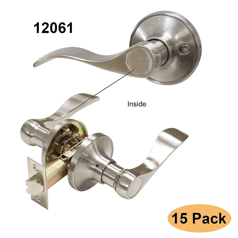Gobrico Round Ball Satin Nickel Interior Door Locksets no Key Passage Door Knobs for Hall/Closet 15Pack