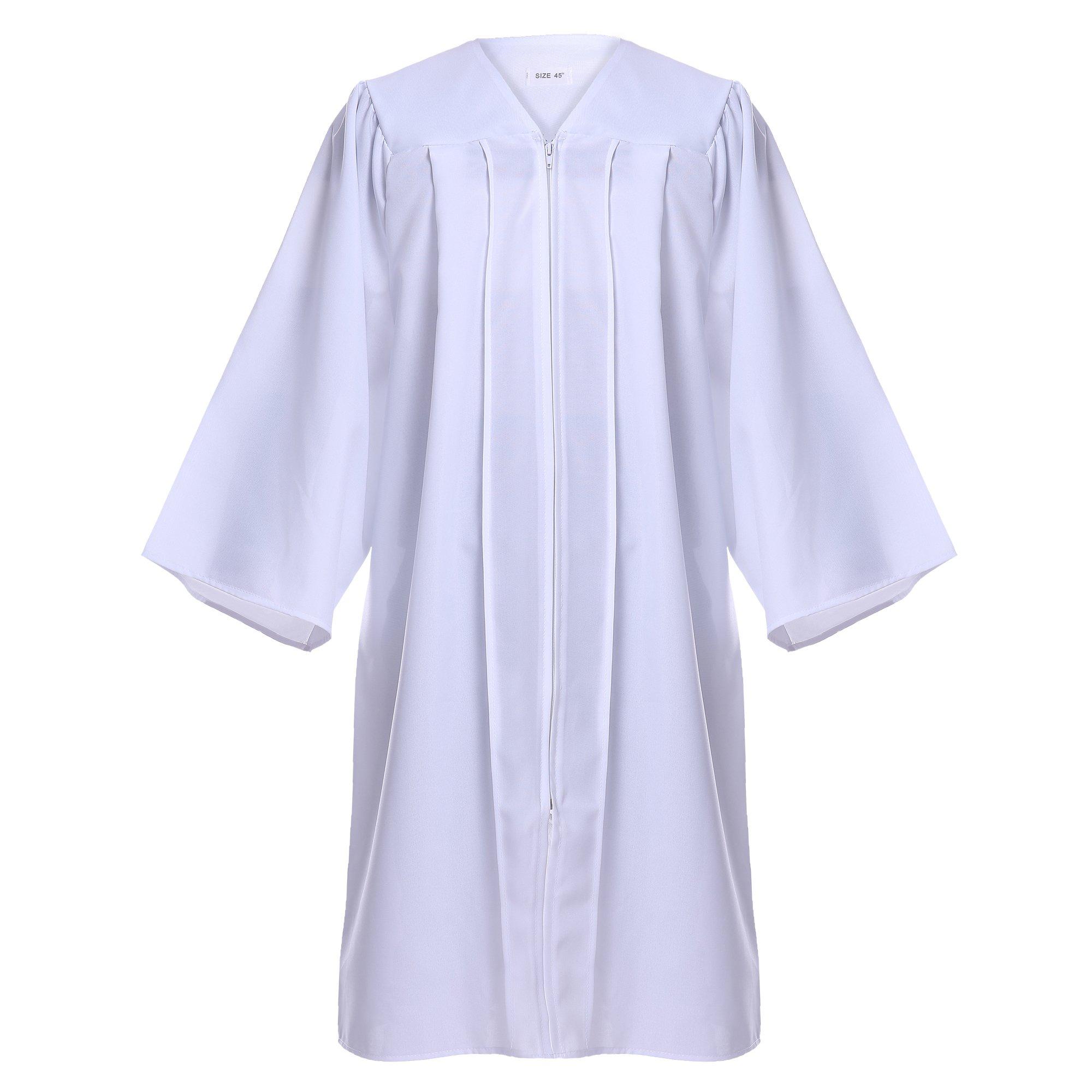 Newrara Unisex Premium Matte Graduation Gown Only (X-Large 54(5'9''-5'11''), White)