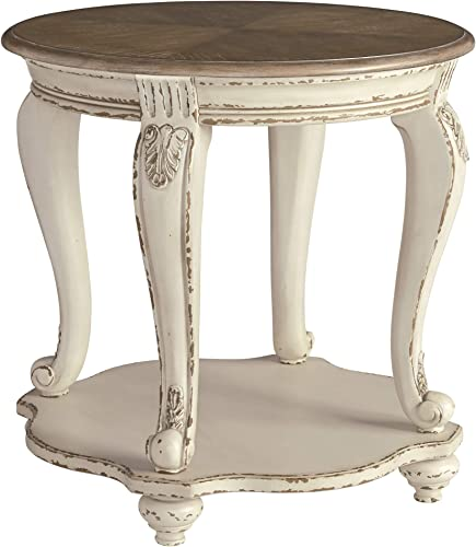 Signature Design by Ashley – Realyn Round End Table, White Brown Wood