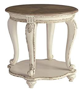 Signature Design by Ashley Realyn Round End Table, White/Brown