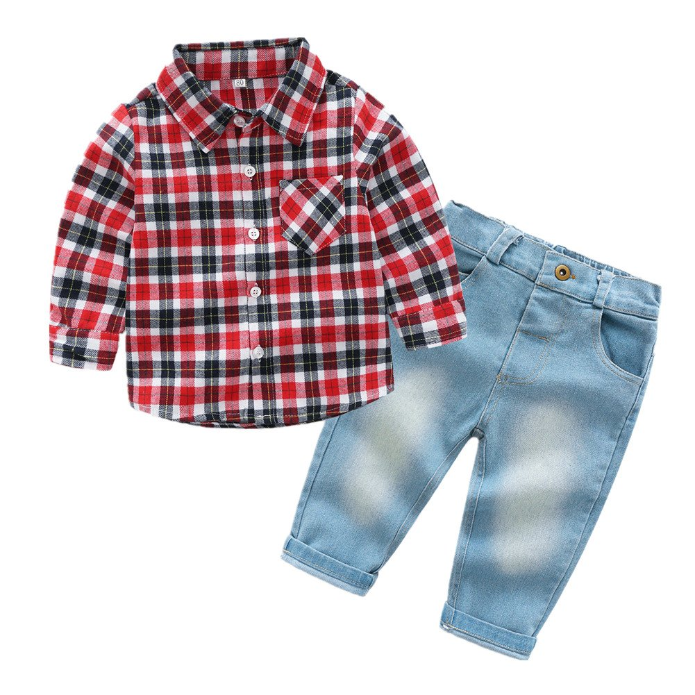 Beide Baby Boys 2 Pieces Outfit Plaid Shirt and Denim Pants