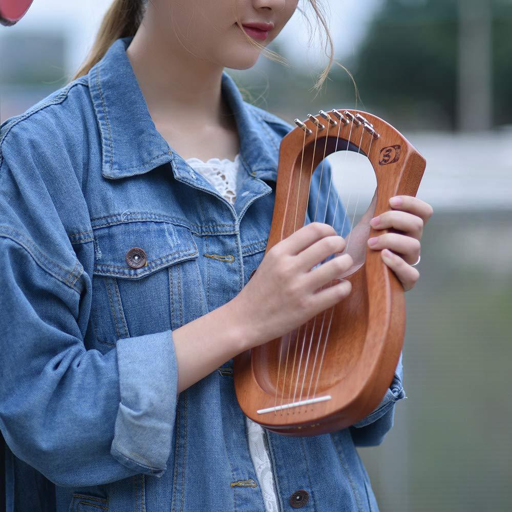 Muslady Walter.t Harpe Lyre en bois /à 7 cordes Instrument /à cordes en bois massif acajou et cordes en m/étal avec sac de transport WH04