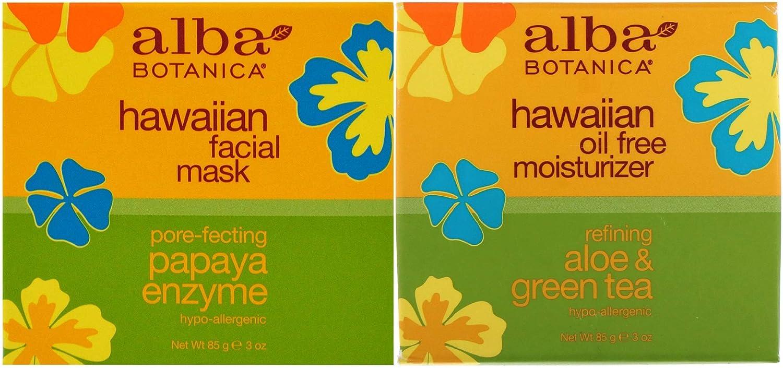 Alba Botanica Hawaiian Bundle, Papaya Enzyme Facial Mask + Aloe & Green Tea Oil Free Moisturizer, 3 Ounce Each