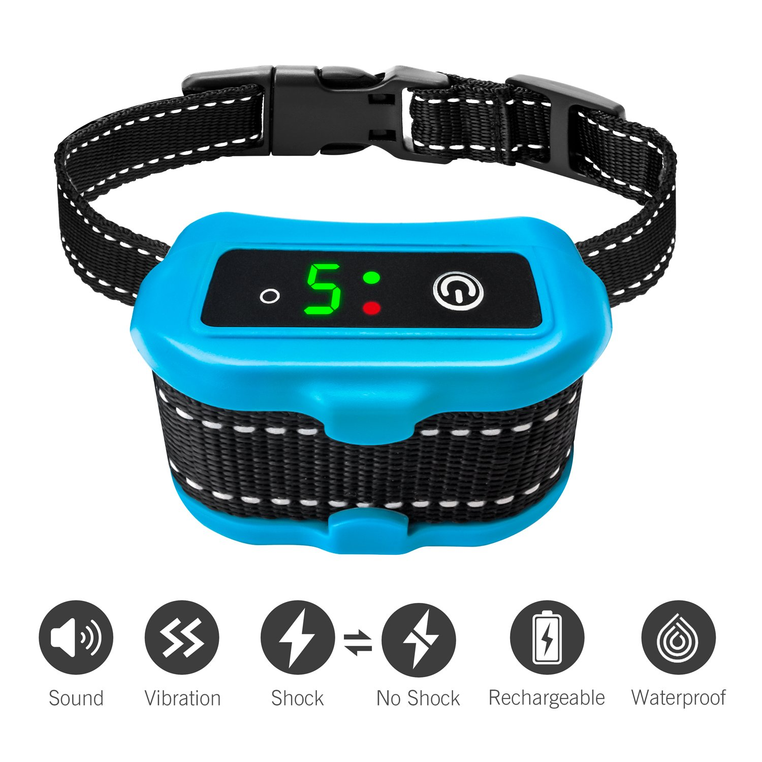 Casfuy Bark Collar [2018 Upgraded] IP67 Waterproof Rechargeable Dog No Barking Collar with Smart Detected Chip for Small Medium Large Dogs