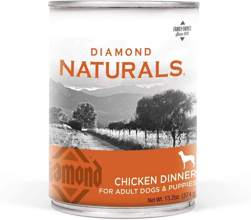 Diamond Naturals Real Meat Recipes Premium Canned Wet Pate Dog Food with Protein from Beef, Chicken or Lamb and Nutrients for Supporting Overall Health in Adult Dogs and/or Puppies